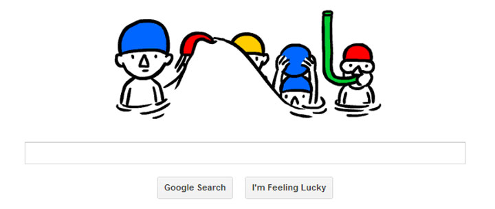 The doodle was designed to celebrate the summer solstice, the longest day of the year, by showing a favourite summer pastime – swimming.