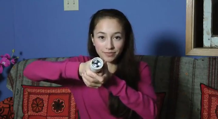 "15-year-old Ann Makosinski  seen here with her project called ""The Hollow Flashlight.""."