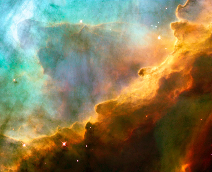 Images like the Omega or Swan Nebula, seen here in a Hubble photograph, can be viewed in apps like APOD.
