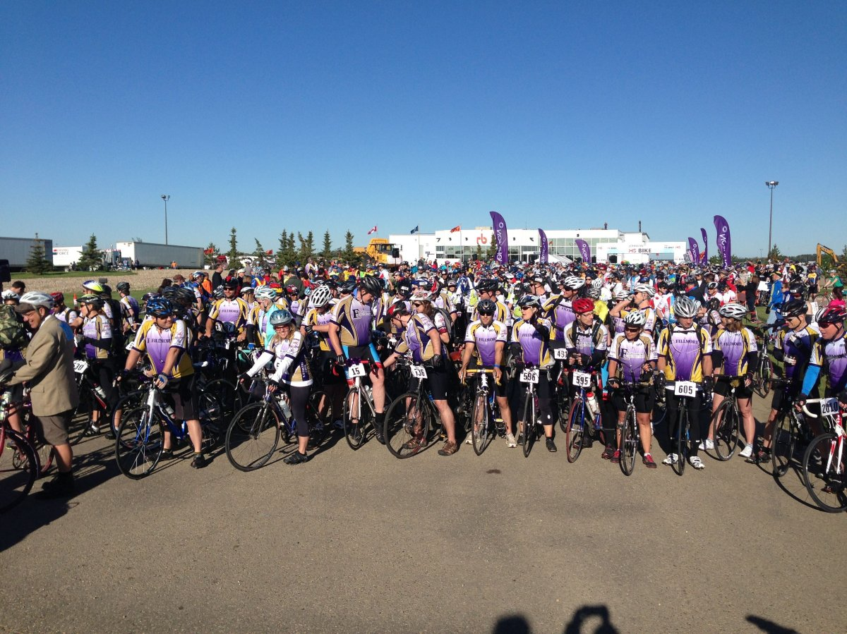 Nearly 1,400 cyclists are travelling from Grand Bend to London and back to raise money for the MS Society of Canada.