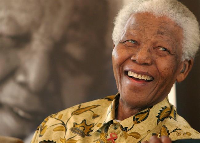 Nelson Mandela, 87, is in a jovial mood at the Mandela Foundation in Johannesburg.
