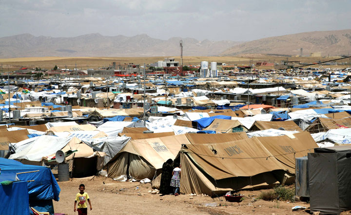 A general view of the Domiz refugee camp, 20 km southeast of the northern Iraqi city of Dohuk, which houses Syrian-Kurd refugees, on May 29, 2013.