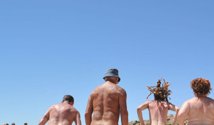Nudists across North America attempted to break the world record for skinny-dipping Saturday.