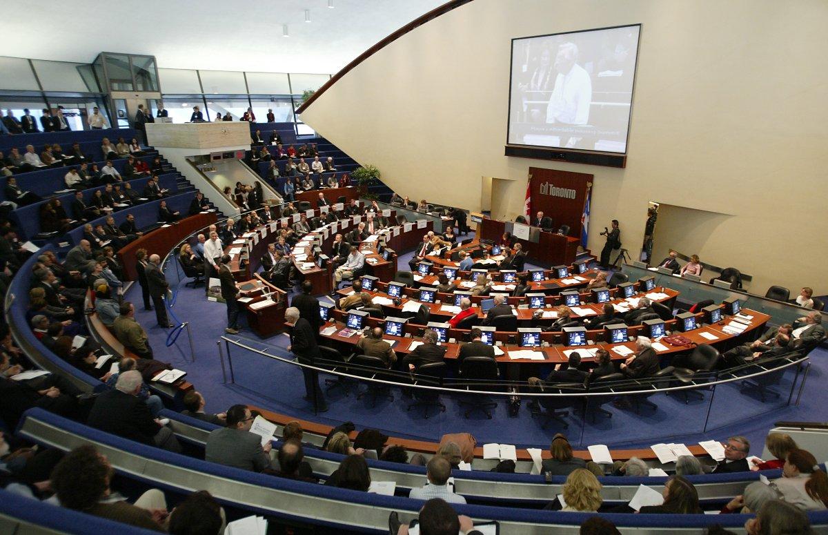 Inside Toronto council chambers.