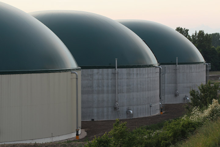 A new biogas plant stands in Lower Saxony on June 12, 2012 near Ebendorf, Germany.