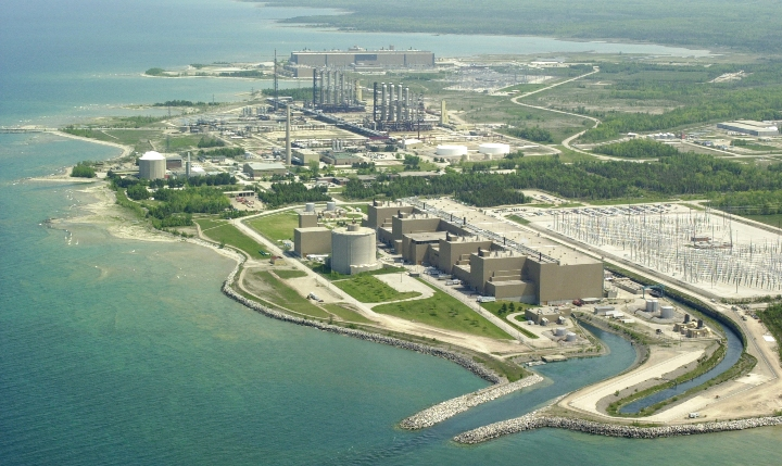 An aerial view of the Bruce Nuclear Plant near Kincardine on Lake Huron.