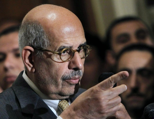 FILE - In this Monday, Jan. 28, 2013 file photo,  Mohamed ElBaradei speaks during a news conference following the meeting of the National Salvation Front, Egypt's main opposition coalition, in Cairo. ElBaradei was named vice-president in July.