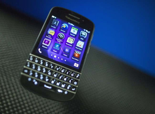 A BlackBerry Q10 on display at the company's Annual and Special Meeting, in Waterloo, Ont., on July 9, 2013.
