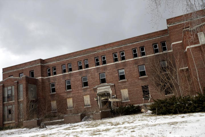 An abandoned hospital is seen February 24, 2013 in Detroit, Michigan.