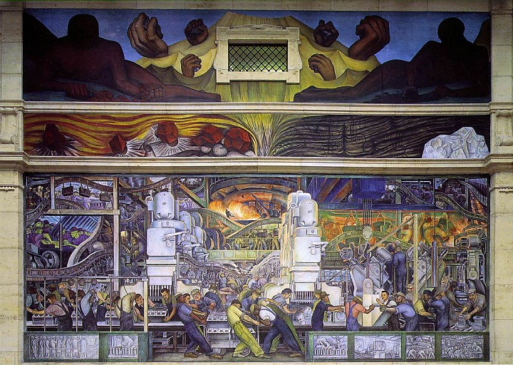 One of Mexican painter Diego Riveria's Detroit Industry frescos in the Detroit Institute of the Arts.
