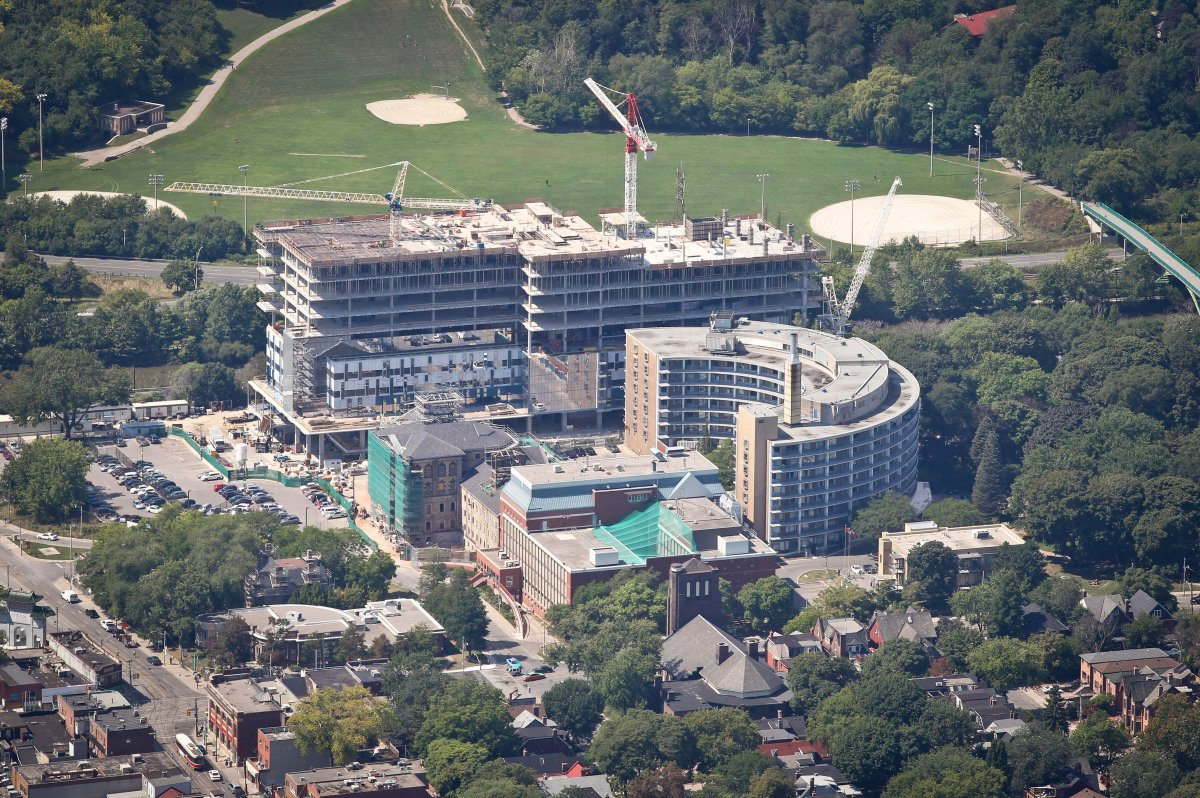 August 30 2011- Bridgepoint Health and the Don Jail construction. Aerial Toronto Skylines.
