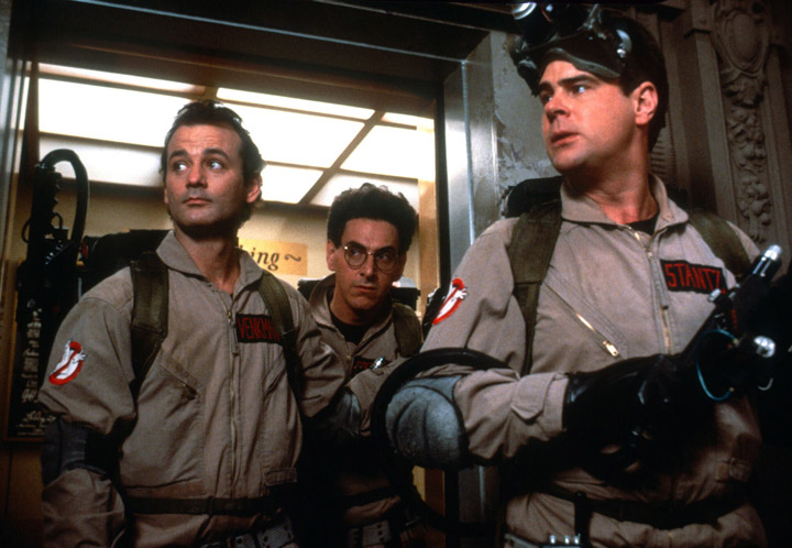 From left: Bill Murray, Harold Ramis and Dan Aykroyd in 'Ghostbusters.'.