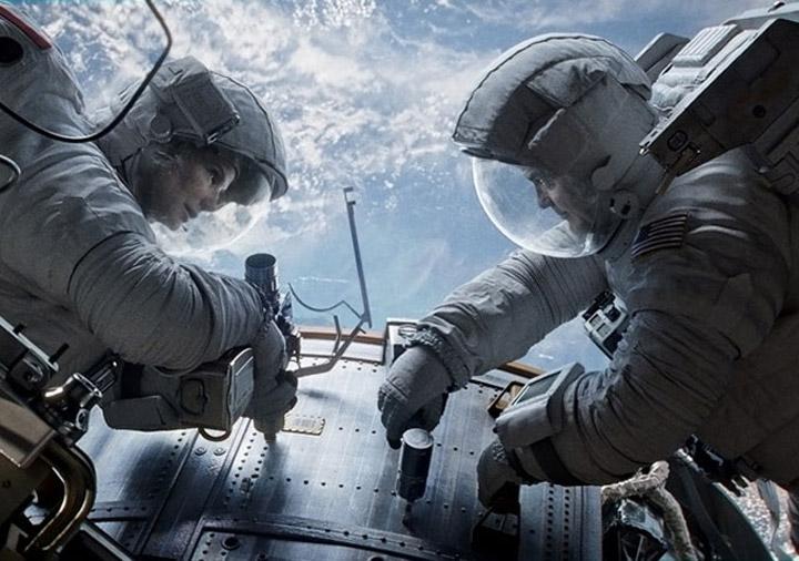 Sandra Bullock and George Clooney star in 'Gravity.'.