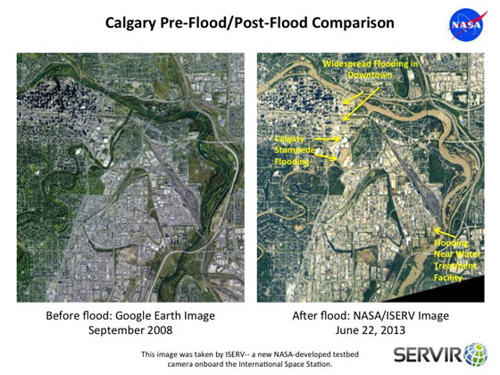 Calgary, before and after the devastating floods of June 22.