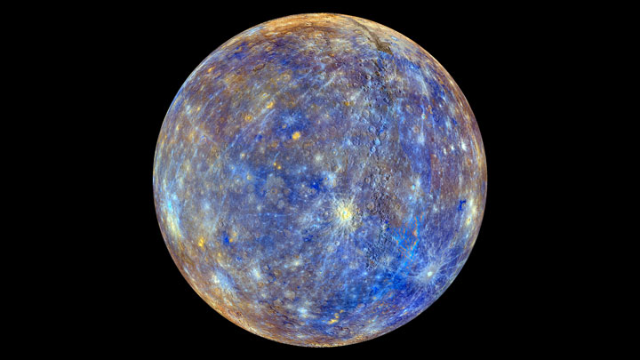 An enhanced-colour view of Mercury, the first planet in our solar system.