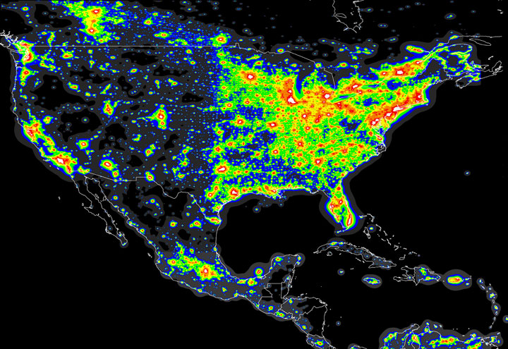 This map illustrates the amount of light pollution across Canada and the United States. Bright white indicates extreme lighting due to cities.