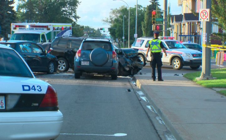 Five people were sent to hospital after a collision near 82nd Street and 115th Avenue, Friday, July 19, 2013.