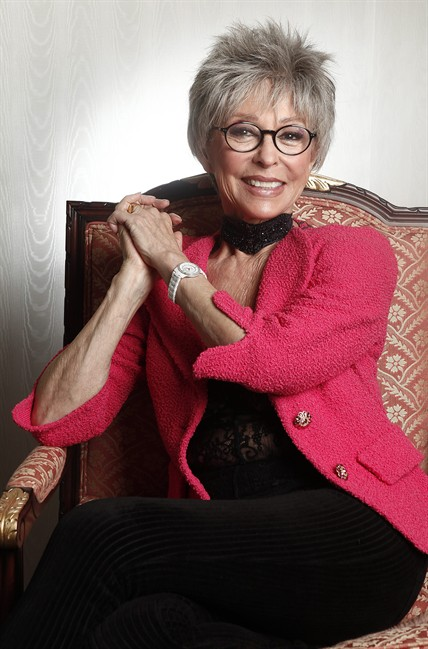 """FILE - In this March 6, 2012 file photo, actress Rita Moreno poses for a portrait at the Waldorf Astoria Hotel in New York. Moreno will receive SAG-AFTRA's Life Achievement Award for career achievement and humanitarian accomplishment at the 2014 Screen Actors Guild Awards. SAG-AFTRA Co-President Ken Howard said the 81-year-old actress is the 50th recipient of the award, """"the most prestigious honor we bestow."""" ."""