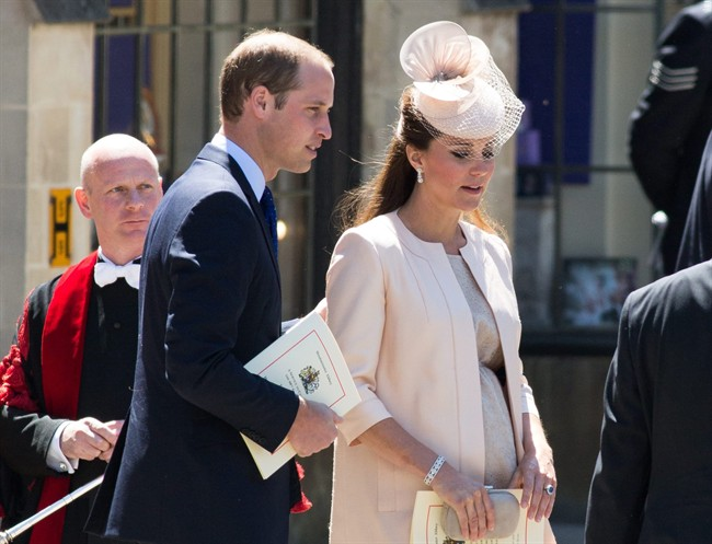 In this June 4, 2013 file photo, Prince William and Kate, The Duchess of Cambridge, attend at a celebratory service for the 60th anniversary of the Queen's Coronation at Westminster Abby in London.
