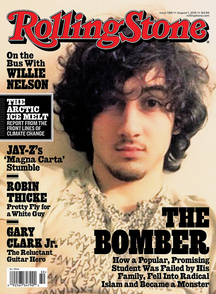 "In this magazine cover image released by Wenner Media, Boston Marathon bombing suspect Dzhokhar Tsarnaev appears on the cover of the Aug. 1, 2013 issue of ""Rolling Stone."