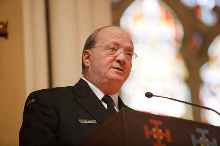The Honourable Hugh Segal, CM, gives the address at a Royal Regiment of Canada service of remembrance on Sunday, Nov. 7, 2010 in Toronto.