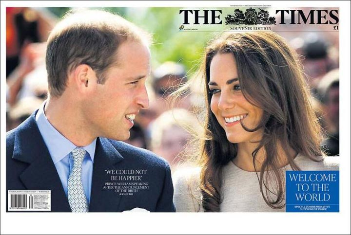 The front page of British newspaper The Times the morning after Kate, Duchess of Cambridge, gave birth to a prince.