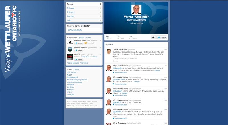 Ontario politics tweet wayne wettlaufer