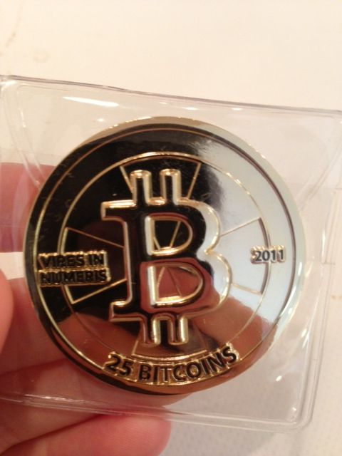 Physical token designed to represent 25 Bitcoins.