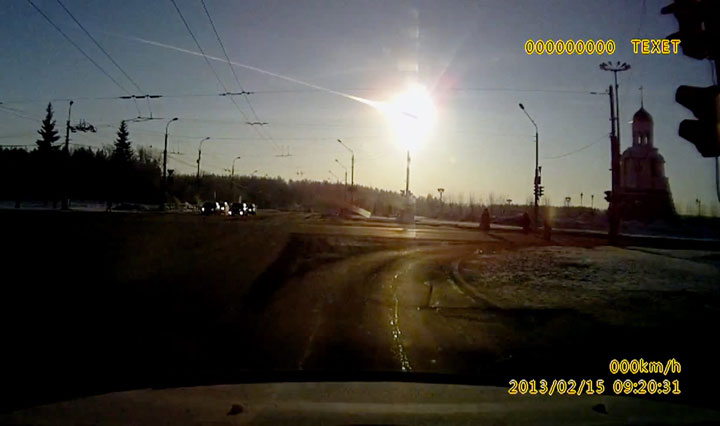 A frame grab of the meteor that streaked through the sky over Chelyabinsk, Russia, on Feb. 15, 2013.