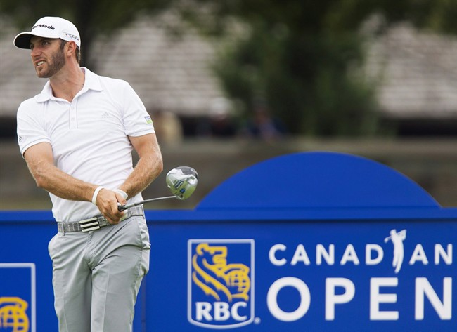Dustin Johnson tees off at the 2013 RBC Canadian Open.