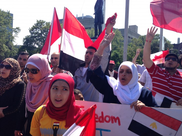 Demonstrators gathered in Toronto chanting for freedom and the end of the military regime that took power in Egypt in the beginning of July.