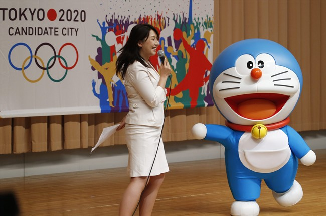 Doraemon, one of the most popular animation characters in Japan, participates in a kick-off ceremony of the Tokyo's bid to host the 2020 Olympics in Tokyo.