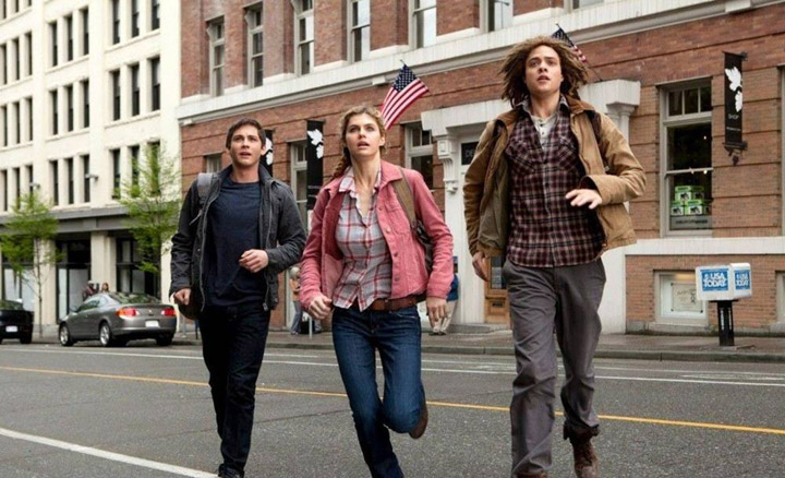 Logan Lerman, Alexandra Daddario and Douglas Smith (on Vancouver's Beatty Street) in a scene from 'Percy Jackson: Sea of Monsters.'.