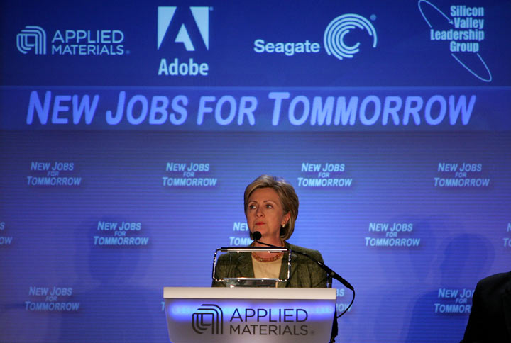 Democratic presidential hopeful U.S. Sen. Hillary Clinton speaks in front of a banner with a misspelled word during the Silicon Valley Business Climate CEO Summit May 31, 2007.