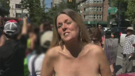 Topless march in Vancouver.
