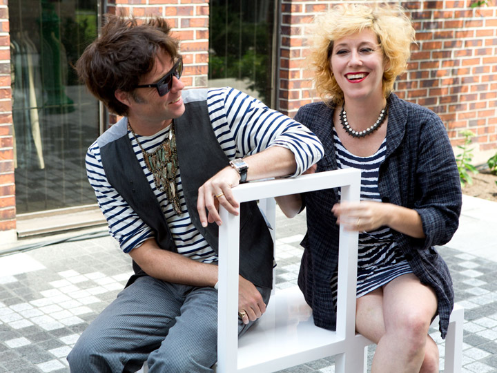 Rufus Wainwright and his sister Martha Wainwright enjoy a moment in the spot named in honoured of their mother.