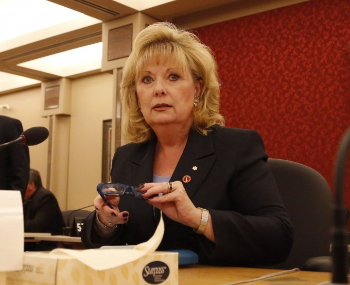 Senator Pamela Wallin appears at a Senate committee hearing on Parliament Hill in Ottawa on Monday, August 12, 2013. THE CANADIAN PRESS/Patrick Doyle.
