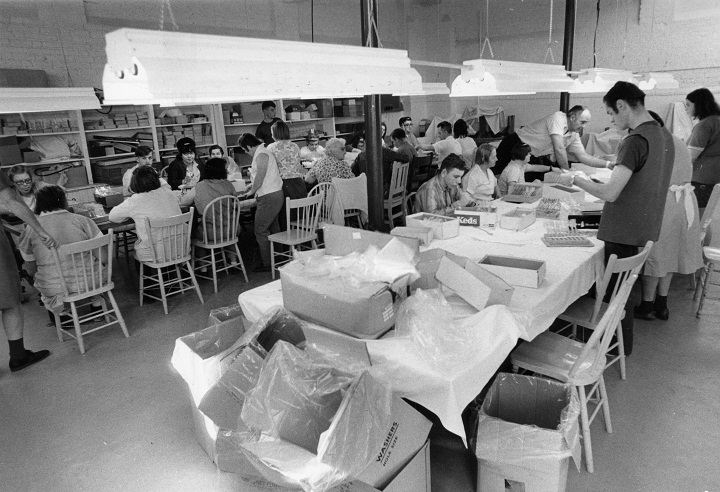 Residents of the Ontario Hospital in Orillia (later called the Huronia Regional Centre) at work on sub-contracts, April 6, 1971.