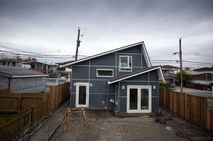 A Vancouver laneway house under construction on Knight Street in Vancouver.