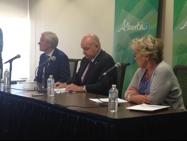 AHS CEO Dr. Chris Eagle, Health Minister Fred Horne, and AHS Administrator Janet Davidson, September 10, 2013.
