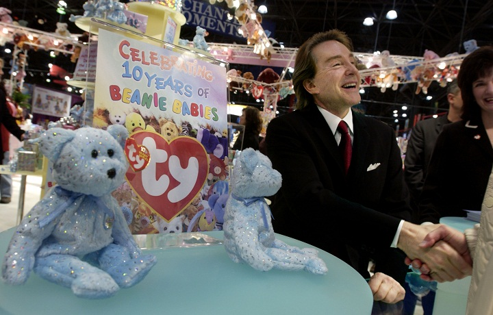 Ty Warner, creator of Beanie Babies toys, shakes hands in a rare appearance to celebrate the 10th anniversary of the Beanie Babies toy line at the American International Toy Fair Feb. 16, 2003.