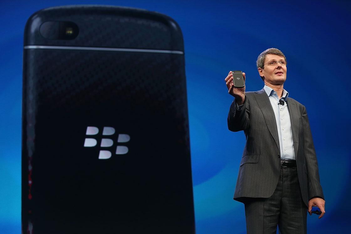 BlackBerry chief Thorsten Heins unveils a new handset in January.