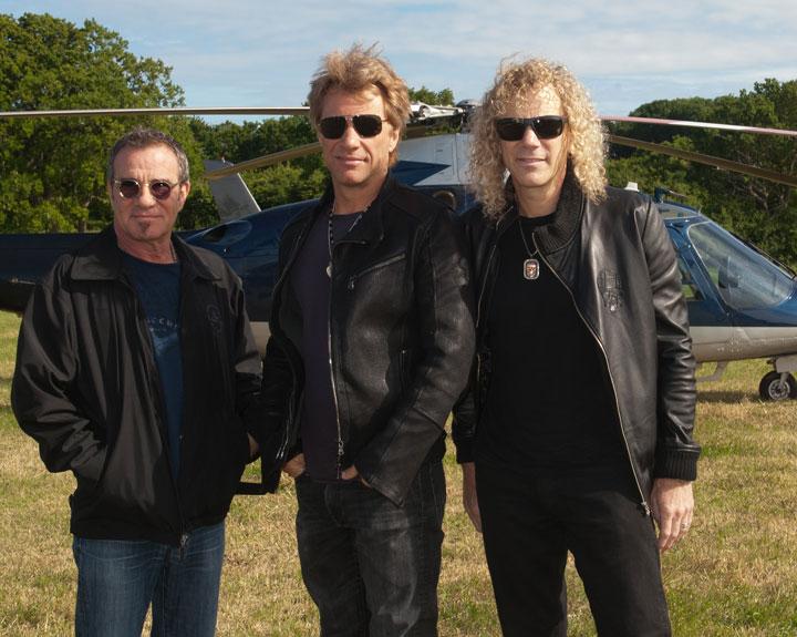 Tico Torres, left, with Jon Bon Jovi and David Bryan of Bon Jovi.