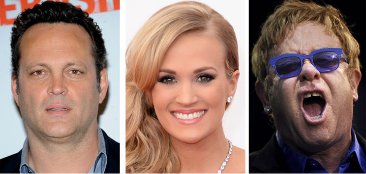 Vince Vaughn, Carrie Underwood and Elton John are three stars who are in relationships with Canadians.