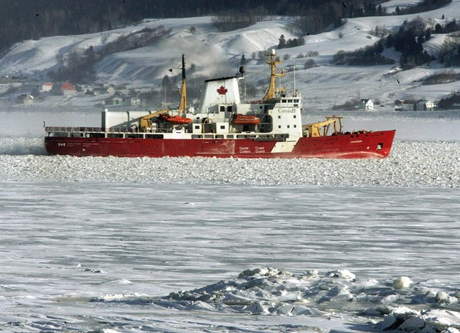 Canadian Coast Guard icebreaker Amundsen is shown clearing a path through the ice on the Saguenay River Friday Jan. 21, 2005.