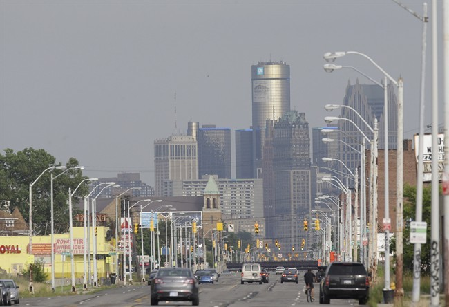 This July 18, 2013, shows the Detroit skyline from Grand River in Detroit.