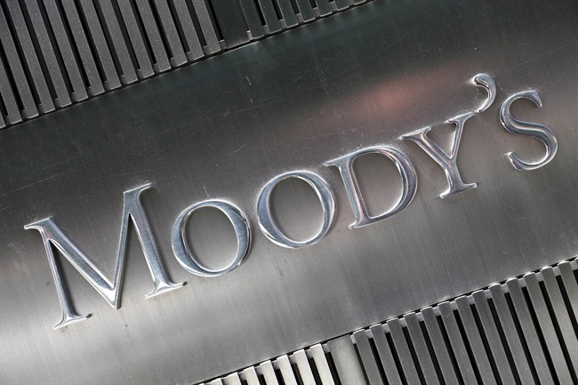This Aug. 13, 2010 photo shows a sign for Moody's Corp. in New York.