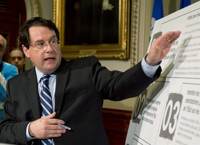 Quebec Minister responsible for Democratic Institutions and Active Citizenship Bernard Drainville presents the Charter of Quebec values Tuesday, September 10, 2013 at the legislature in Quebec City. THE CANADIAN PRESS/Jacques Boissinot.