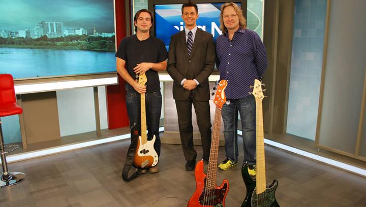 Sheldon Dingwall showcases some of his signature bass guitars.