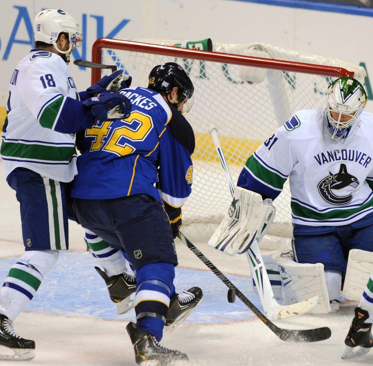 Vancouver Canucks' goalie Eddie Lack blocks a shot by David Backes in St. Louis. (AP Photo/Bill Boyce).